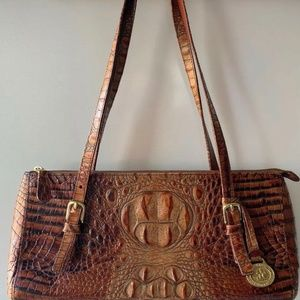 Vintage Brahmin Pecan/Brown Croc Embossed Bag/tote